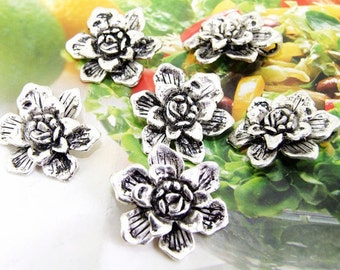 8 Beads--- Charm Two Layer Flower  Pendant  Link  Beads Silver Plated Filigree Findings Metal Connector Link Beads 24mm 3L