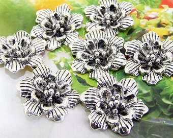 6 Beads--- Charm  Flower  Pendant  Link  Beads Silver Plated Filigree Findings Metal Connector Link Beads 20mm 3L