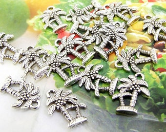 20 Beads--- Charm Coconut Palm Pendant  Link  Beads Silver Plated Filigree Findings Metal Connector Link Beads 13mmx18mm 3L