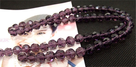 "8mm faceted shiny amethyst glass beads,Loose 70beads,full strand of agate  FULL STRAND 20"" gemstone"