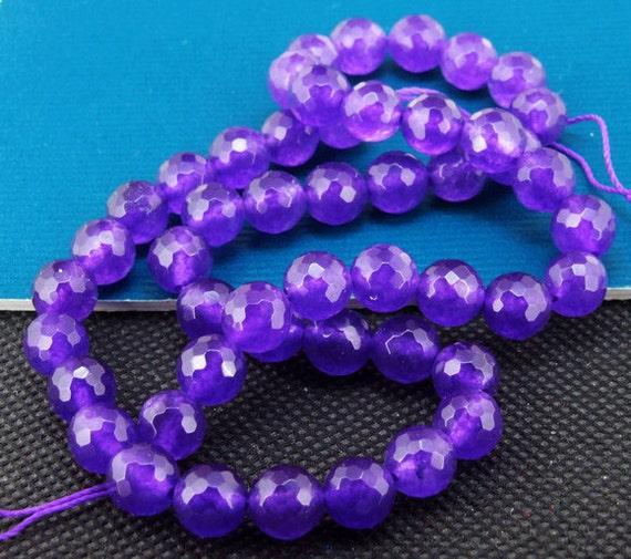 "Loose Gemstone Round Faceted Purple Jade 8mm gemstone  bead full one strand 15"""