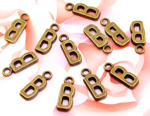 30Beads--- Charm B  Words  Bronze Plated Brass Filigree Findings Metal Pendant Earwire Beads 6mmx16mm 3F