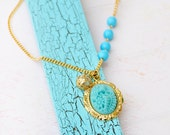 Aqua Floral Necklace - Gold chain with Light Blue Beads - Elegant Vintage Style