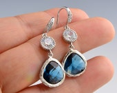 Wedding Jewelry  - Silver CZ Earrings with Sapphire Glass Stone -Bridesmaid Gift