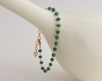 Emerald Bracelet - Simple - Everyday - Elegant - Many Occasions - Bridal Gift - Gift