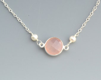 Rose Quartz Necklace, Wedding Jewelry,Freshwater Pearls,Sterling Silver Necklace,Bridesmaid Gift  - Gemstone Necklace
