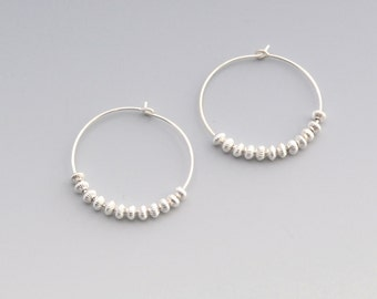 Hoop Earrings - Argentium Sterling Silver beaded Hoop earrings