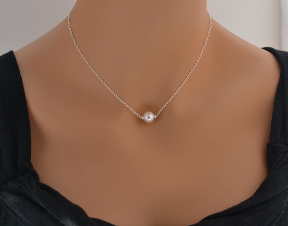 Pearl Necklace - Wedding Jewelry - Top Quality Fresh Water Pearl on Sterling Silver Chain - Bridesmaid Gift - Bridal