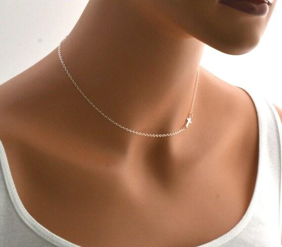 Cross Choker, Sideways Cross Necklace - Sideway Cross Sterling Silver Necklace - Taylor Jacobson - Tiny Cross