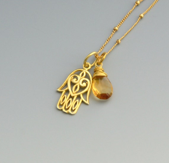 Citrine - Hamsa Hand Necklace - Birthstone Necklace - Good Luck Necklace - Gold Necklace  - Bridesmaid Gift - Graduation Gifts