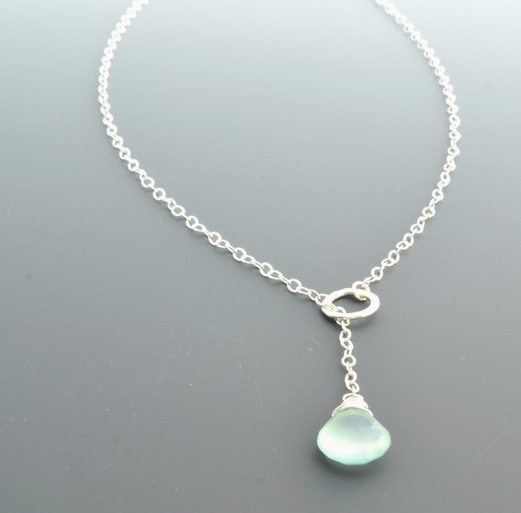 Birthstone Necklace - Lariat Necklace - Custom Birthstone - Handmade Jewelry - Aqua Necklace - Bridesmaid Gift
