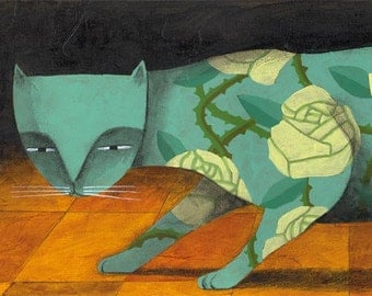 Limited edition The rose tree cat. Print 4.7 x 15.5 inches