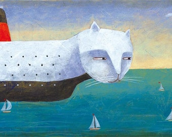 Ship cat. Limited edition. Print 4.7 x 15.5