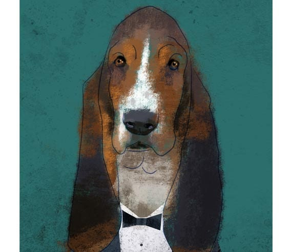 Basset Hound with Smoking. Print poster 16,5 x 11,6 (A3)
