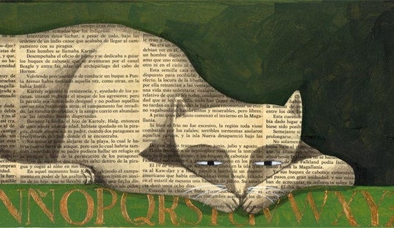 Limited edition The book cat. Print 4.7 x 15.5 inches