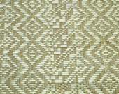 Geometric weave in ivory and khaki, 1 yard, straw/crochet polyproplylene fabric