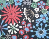 Black floral banquet, 1/2 yard, pure cotton fabric