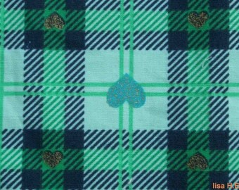 SALE - Green plaid and golden hearts, fat quarter, pure cotton fabric