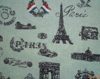 Paris landmarks, fat quarter, pure cotton fabric