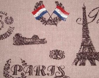 Paris landmarks, powder-pink map, 1/2 yard, pure cotton fabric