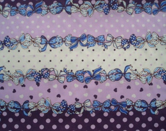 Bows, hearts, and dots, fat quarter, pure cotton fabric