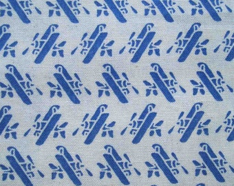 Old blue aircraft, on white, fat quarter, pure cotton fabric