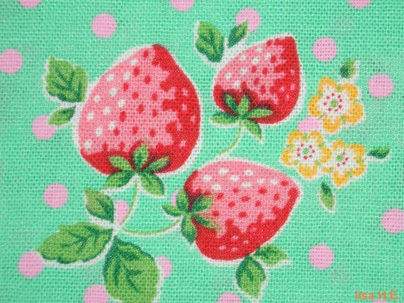 SALE - Big strawberries, bright lime, odd size, cotton linen blended fabric