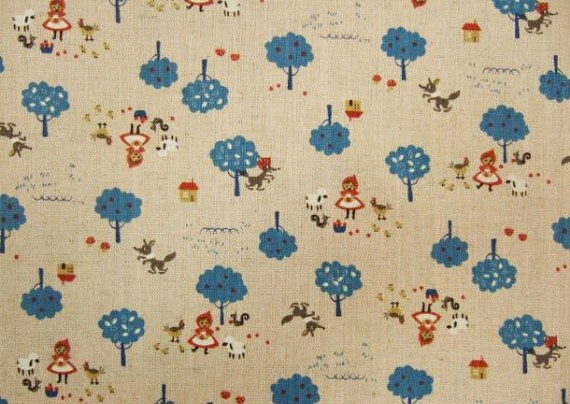 Red Riding Hood, cobalt blue, fat quarter, cotton linen blended fabric