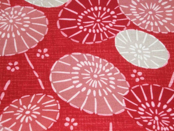 Japanese historical umbrellas, on red, fat quarter, pure cotton fabric