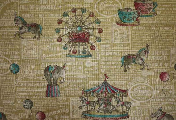 Merry go round, on mustard yellow, fat quarter, cotton linen blended fabric