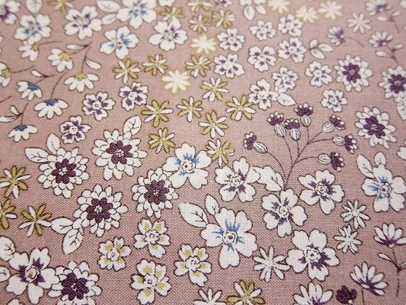 Wildflowers, on dusty gray pink, fat quarter, pure cotton fabric