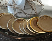 Fabulous Extra Large Tea Stained Metal Rimmed Round Tags - Set of 10 Prestrung