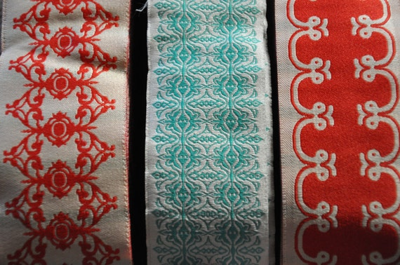 Beautiful Vintage Embroidered Wide Ribbon - 3 yards (one of each)