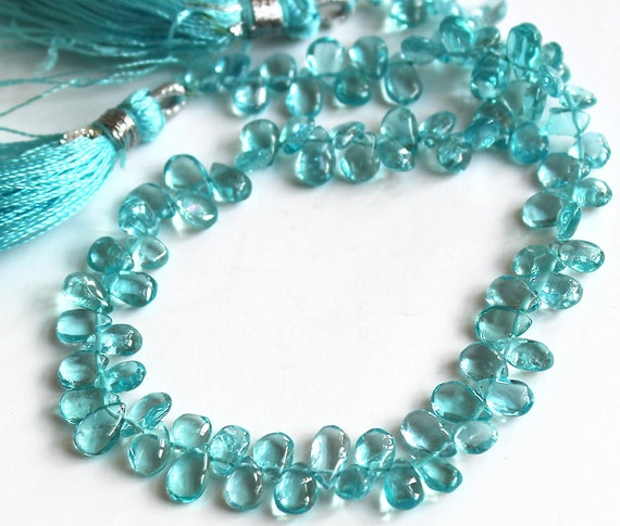 Apatite Smooth Briolette Gemstone Beads 6x4mm- Quarter Strand (20 Stones) - Last One