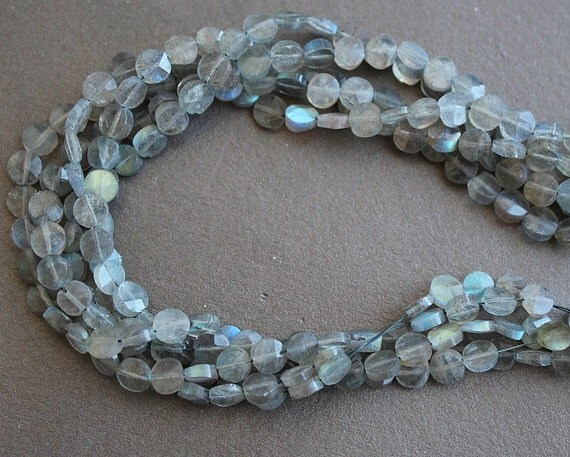 Labradorite Faceted Coin Beads 6mm FULL STRAND (14 Inches)