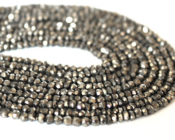 Pyrite Faceted Rondelle Beads 3mm- FULL STRAND