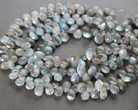 Labradorite Faceted Puffed Teardrop Briolette Beads 8x6mm FULL STRAND - Last Strand