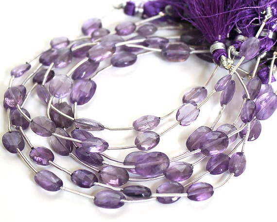 Amethyst Faceted Puffed Oval Gemstone Beads 10x8mm FULL STRAND