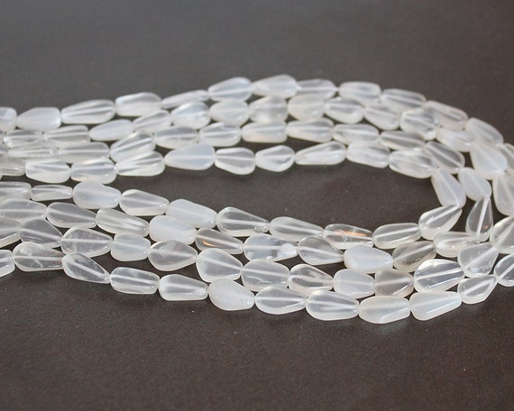 White Moonstone Flat Teardrop Beads 11x6mm HALF STRAND (7.5 Inches)