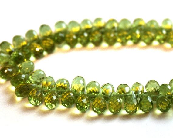 Peridot Faceted Teardrop Briolettes 7x4mm Gemstone Beads (10 Stones)