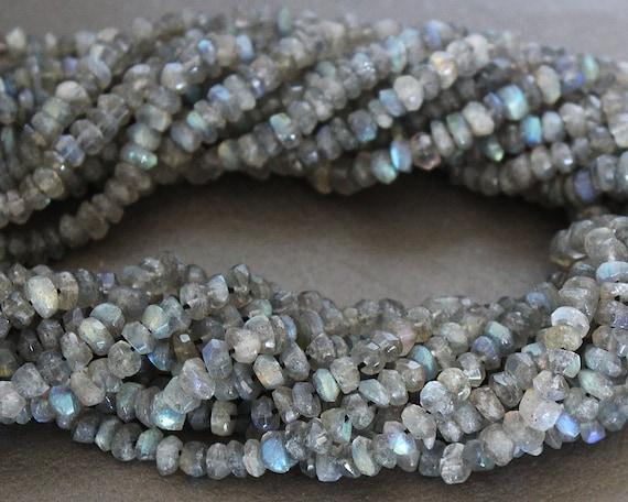 Labradorite Faceted Rondelle Gemstone Beads 3.5x2mm FULL STRAND