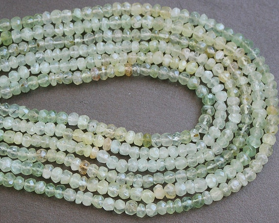 Prehnite Faceted Rondelle Gemstone Beads 4.5mm FULL STRAND (14 Inches)