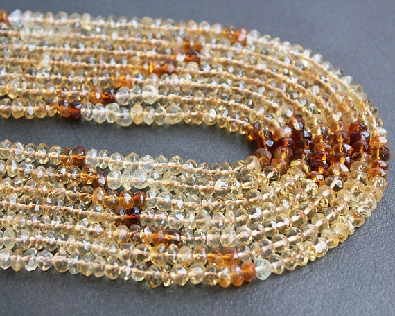 Shaded Citrine Rondelle Gemstone Beads 5x3mm FULL STRAND (14 Inches)