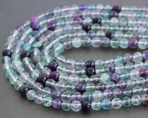Rainbow Fluorite 6mm Round Beads FULL STRAND (16 Inches)