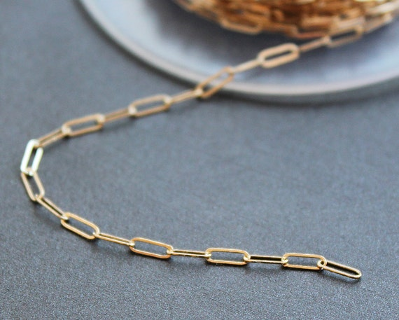 14K Gold-Filled Bulk Chain- 3 Feet- Drawn Cable- 5x2mm