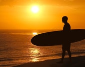 Surfer at Sunset Silhouette Photograph California Dreamin' Beach Photography Color Sun Home Decor Boho Yellow Orange Summer  8X10