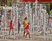 Children Playing in Fountain Color Photograph Joy Happy Summer Fine Art Photograph Colorful Water Art Print Hollywood California