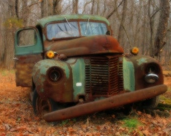 Rusty Old Green Truck Color Photograph Autumn Landscape Photography Rustic Shabby Chic Rust Earth Tones Brown Art Print Past Its Prime