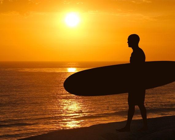 Surfer at Sunset Silhouette Photograph California Dreamin' Beach Photography Color Sun Home Decor Boho Yellow Orange Summer  8X10