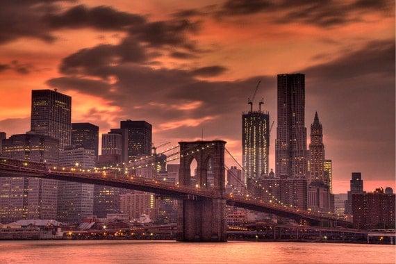 New York City - Photograph - Sunset - Brooklyn Bridge - Urban Photography - Art Print - Pink - Salmon - Home Decor - Wall Art